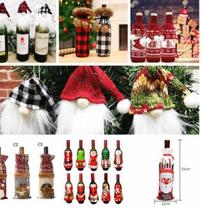 Noël rouge bouteille de vin Sac Couverture Xmas Party Dinner Table Décor Cadeaux Bouteille de vin chandail Xmas Party Décorations LJJK2440-1