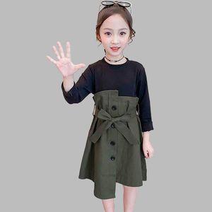 2020 Girls Dress Patchwork Fake 2PCS Dress For Girls Korean Slim Kids Party With Bow Belt Spring Novelty Clothes For