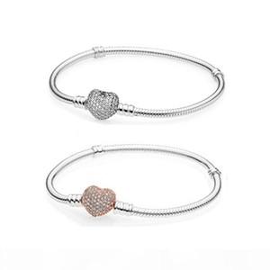 Аутентичные 925 стерлингового серебра сердца Подвески Браслет для дизайнера европейских бисер браслет свадебный подарок ювелирные изделия для женщин с первоначально коробкой Логотип