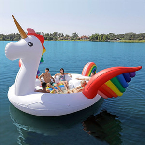 6-7 inflável gigante Unicorn Piscina Float Ilha Piscina Partido Lake Beach Floating Water Boat Brinquedos Air Mattresse