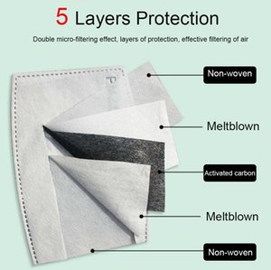 Anti Pollution Pm2.5 Activate Carbon Mask Filter Replaceable Face Mask Filter 5 Layers Protection Wholesale SP002