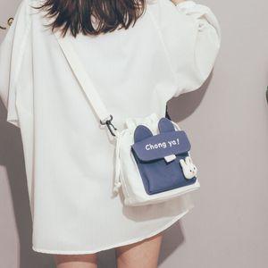 Cute small bag 2020 new Japanese Harajuku canvas messenger bag female student shoulder bucket bag