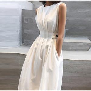 Poches plissés été Bouton Robe Tunique manches Midi femmes A-ligne Robes Femme 2020 Nouveau Casual Ladies réservoir Sundress
