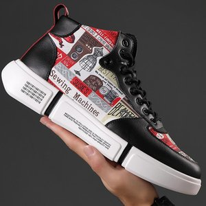 Neue Herrenschuhe echtes Leder 2019 Männer Designer Chunky Sneakers Mode-Mann-beiläufige Schuh-hohe Plattform-Turnschuhe Big Size 47 L30