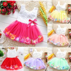 Bébés Princesse Filles Fleur Rose 3D Fleur bébé Tutu Robe colorée Robe pétale dentelle jupe bulle Vêtements bébé M2333