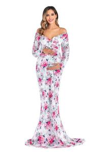 Классические платья для беременных Для Photo Shoot шифонового платья Беременности фотографии реквизит цветы Платья для беременной Одежды