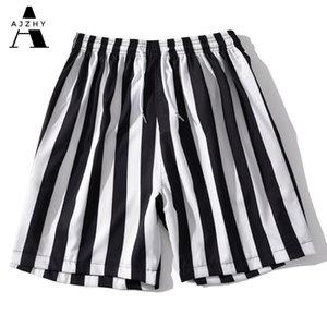 Hip Hop jogging Uomo Nero a strisce bianco Tropical Hawaii Shorts Streetwear Summer Beach Shorts Elastic Via Uomo