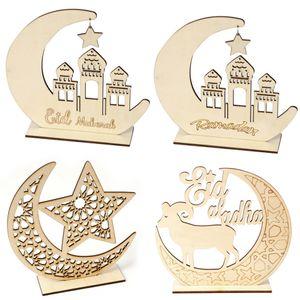 Ramadan Decor De Madeira Islamic Muçulmano Eid Mubarak Home Ornamento Diy Hollow Moon Star Ovelha Decoração Festival Evento Favor Ljjp123