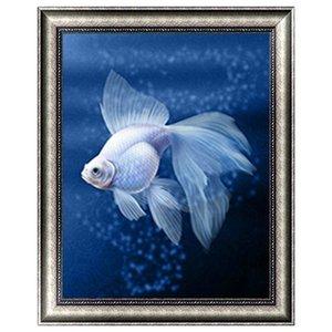 Weiß Goldfish 5D Diamant Runde Strass Stickerei Malerei DIY Kreuzstich Kit Mosaik Draw Home Decor Geschenk