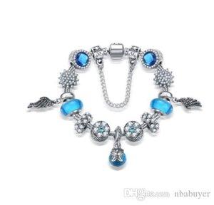 Pay4U Fashion 925 Sterling Silver Sky Blue Crystal Murano Lampwork Glass & European Charm Beads Fits Pandora Charm bracelets Style Free Ship