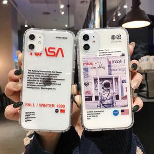 아이폰 11 프로 최대 7 7plus 8 8plus X XR XS 최대 투명 전화 케이스 실리콘 덮개에서 공간 소프트 우주 비행사 핫 NASA 미국 거리 트렌드