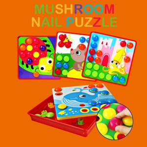 5 Type 3D Puzzles Toy for Children Creation Mosaic Mushroom Nail Kit Buttons Art Assembling Baby Kid Learning Educational Toys > CX200711