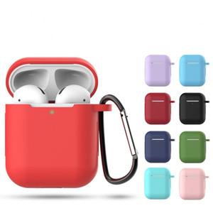 Katı Renk Silikon Kılıf Airpods için 2 Sevimli Koruyucu Kulaklık Kapak Apple Airpods 2 Wireless Kutu Darbeye Kılıf Şarj