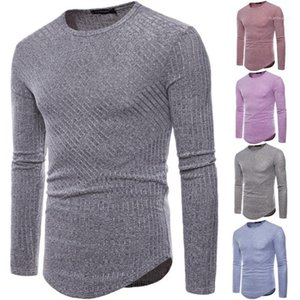 Neck Solid Color Top Homme Casual Clothes Mens Knitted Tshirt Designer Spring Autumn Long Sleeve Crew