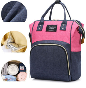 Mamá bolsa de pañales de gran capacidad mamá Mochila panal del bebé bolsas de mano Cochecito mamá de enfermería viaje mochila LJJK2382