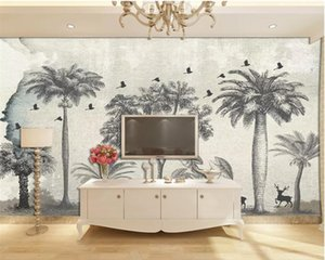 beibehang Customized personality 3d wallpaper mural European-style hand-painted forest elk big tree TV background wall wallpaper