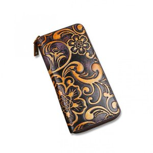 ABER Vintage Wallet Card Holder 2020 New Handmade Embossed Genuine Leather Women Large Clutch Wallet Printed Phone Purse