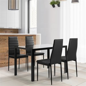 5-Piece Kitchen Dining Table Set for Dining Room, Kitchen, Dinette, Compact Space w Glass Tabletop, 4 Faux Leather Metal Frame Chairs