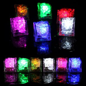 LED Flash Ice Cube Artifical Liquid Sensor Light Crystal Ice Cubes Luminous Water-Actived Ice Cube for Party Wedding Bars Xmas 12pcs Box INS