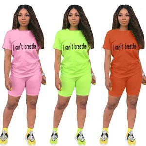Loose Solid Color Shorts Famale Casual Sport Set Letter Summer Tracksuit For Women O-Neck Short Sleeve Tshirt