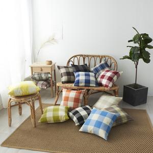 A cuadros fundas de almohada 45 * 45cm de celosía tirar almohada funda de almohada geométrica cubiertas decorativas del amortiguador del regalo de la decoración del hogar AHE352