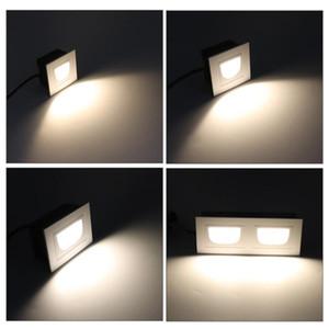Aluminium-Platz 5W Doppel 2x5W Wandleuchte Led Treppen Licht 5W LED-Einbau Schritt Lampe Pathway Wandecke Lampen AC85-265V Rampenlichter