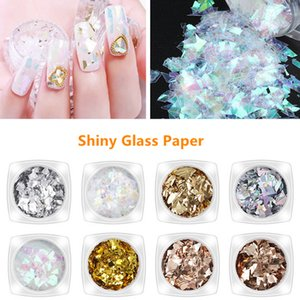 18 Color Shiny Glass Paper Nail Art Glitter Manicure Sticker Paillette Sequins Nail Glitter Decorations Accessories Tools