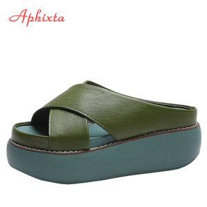 Slides Aphixta Cross Platform Pantofole da donna Scarpe 6.5cm Zeppa pantofole Moda Verde Flip Flops Beach Shoes