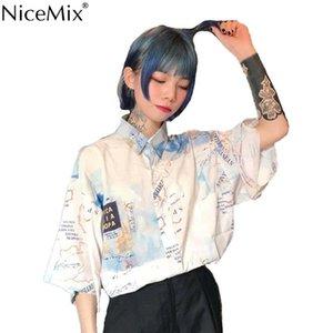 NiceMix Summer Harajuku Blouse Short Sleeve Womens Shirt Digtal Print Map Tops And Blouses Casual Blusas Camisas Mujer 2019 Y200622