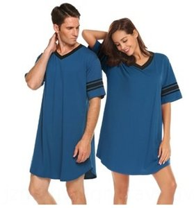 k1KBx Couple V-neck solid multi short-sleeved loose comfortable Leisure Couple V-neck solid color pajamas multicolor short-sleeved loose com