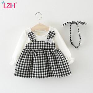 LZH 2020 vestido de la tela escocesa de las muchachas del otoño con los oídos lindos del aro de los bebés recién nacidos ropa de vestir de algodón del partido pelo ropa de los niños