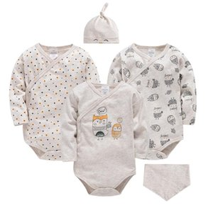Kavkas 5PCS Newborn Baby Clothes Sets for Gifts Organic Cotton Beige Infant Boy Rompers Hats Bibs Suit Girl Bodysuit Birthday