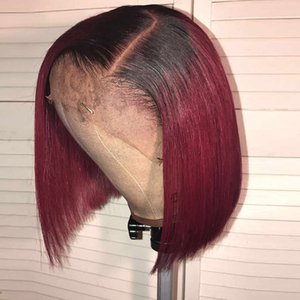 Burgundy Lace Front Wig Short Bob Lace Front Wigs 13x4 150% Remy Straight Red Wig Hd Burgundy Short Ombre Bob Human Hair Wigs
