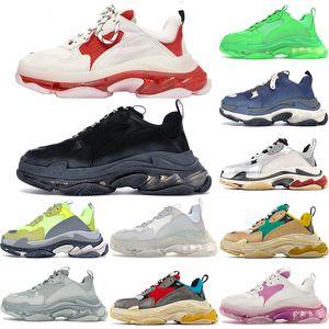 De alta calidad 2020 zapatos casuales papá de época antigua Nueva moda de París 17FW Triple S zapatillas Botas Para Hombres Mujeres Verde Blanco zapatillas de deporte abuelo
