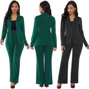 Suits Womens Solid 2pcs Blazers Sets Winter Woman Elegant Long Sleeve Coat With Pencil Pant Suits Office Lady Outfit