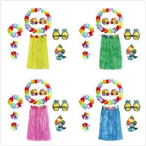 8Pcs Set Hawaiian Skirt Plastic Fibers Girls Woman Hawaiian Skirt Grass Costume Flower Skirt Hula Dance Dress Party Hawaii Beach Decoration
