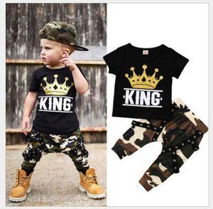 2020 Nueva ropa de los bebés del verano de los pantalones de camuflaje + 2pcs fijan la manga corta camiseta de los niños Niños Trajes niños del juego de los 70-130cm 0-5Years