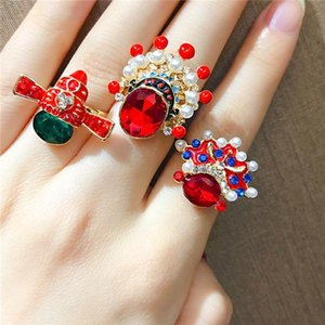 creative Chinoiserie Beijing Opera Facial Makeup rings for women personality crystal adjustable finger ring girls party jewelry