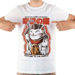 Japan anime communist fortune cat casual T-Shirt Funny jollypeach brand 2019 new white homme men T Shirts short sleeve