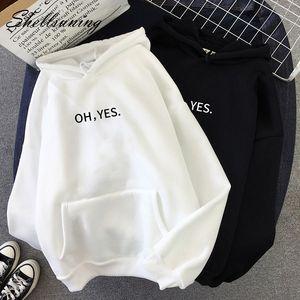 Shellsuning invierno de las nuevas mujeres de gran tamaño sudaderas con capucha Mujer Carta de Harajuku Impreso Pullover Espesar flojo ocasional ropa MX200613