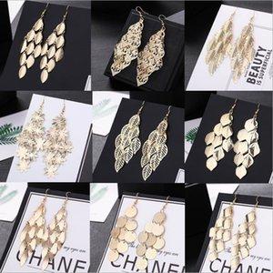 Fashion Vintage Leaf Drop Earrings For Women Gold Color Boho Statement Pendientes Long Pompom Dangle Earrings Jewelry