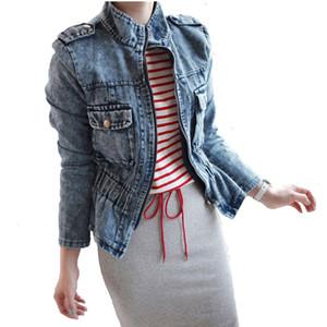 Vintage Elegant Zipper Denim Jackets 2020 Women's Blue Coat Spring and Autumn Waist Jackets for Women Jeans Coats Female Clothing