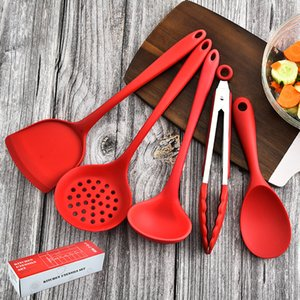 5 pcs set Silicone kitchenware set cooking soup spoon household spatula kitchen food clip colander Tools