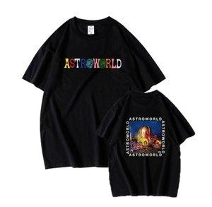 Astroworld T-SHIRT 트래비스 스콧 T 셔츠 티 짧은 소매 남성 T 셔츠 힙합 Astroworld 블랙 티 T 셔츠 크기 S-2XL
