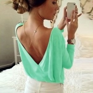 2019 Summer Women's Blouse Fashion Back Open Cross Blouse Shirt Tops Ladies Casual Loose Long Sleeve Sexy Backless Solid Blouses Y200622