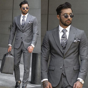 New Fashion Gray Check Wedding Tuxedos Slim Fit Two Button Mens Designer Jacket Formal Party Prom Suits Wear (Jacket+Vest+Pants)