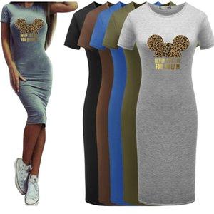 5 Renk BODYCON Tasarımcı Elbise Moda Fare Desen Elbiseler 2020 Yaz Yeni Leopard Baskı T Shirt Toptan Diy Giyim Womens