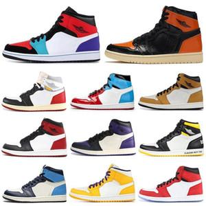 Nike Air Max Retro Jordan Shoes OG Fumo Tie Dye scarpe da basket NakeskinGiordaniaRetro donna degli uomini raso Shattered allevati Banned Reale Fearless Chicago UNC Sport 1 1s