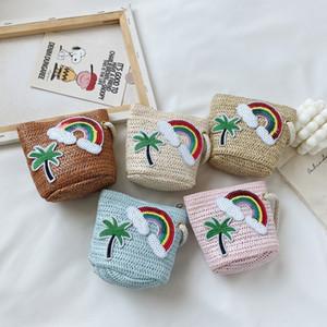 2020 new children's straw shoulder pastoral fashion beach bag cute mini change shoulder messenger bag