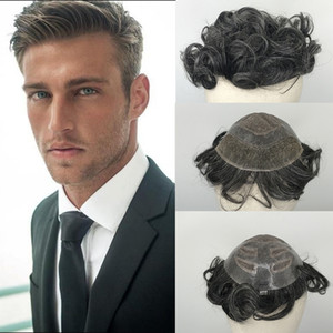 Mezclado 40% de pelucas para el cabello chino gris para los hombres Medio encaje medio PU Human Remy Pelo Toupee para hombres Sistema de reemplazo de cabello